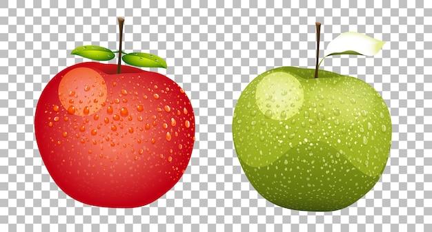 Zielone i czerwone jabłka realistyczne na białym tle