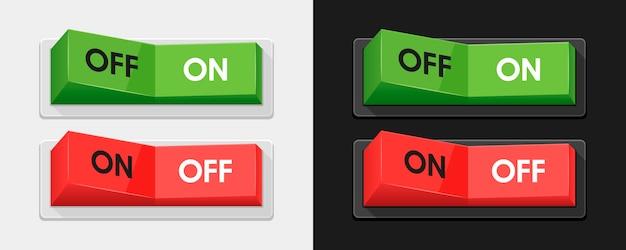 Zielone i czerwone przełączniki zasilania
