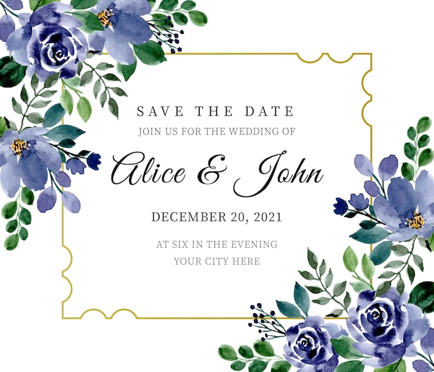 Zielone i niebieskie zaproszenie na ślub z kwiecistą akwarelą