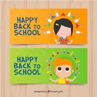 Zielone i pomarańczowe z powrotem do szkoły banery