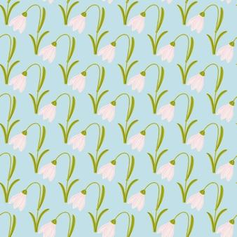 Zielone i różowe kwiaty bluebell ornament bez szwu wzór