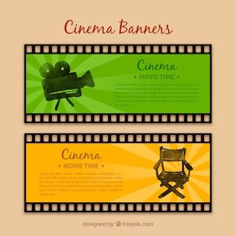 Zielone I żółte Banery Kina Premium Wektorów