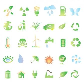 Zielone ikony o recyklingu