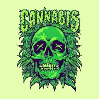 Zielone ilustracje roślin cannabis skull weeds