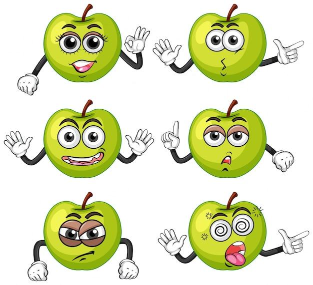 Zielone jabłka z sześcioma różnymi emocjami
