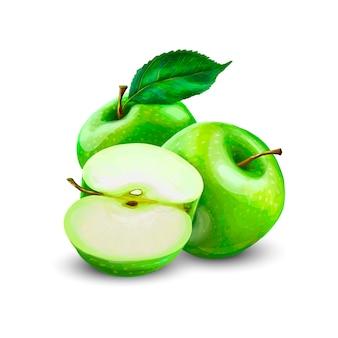Zielone jabłka z zielonymi liśćmi i plasterkiem jabłka na białym tle. realistyczne ilustracje wektorowe
