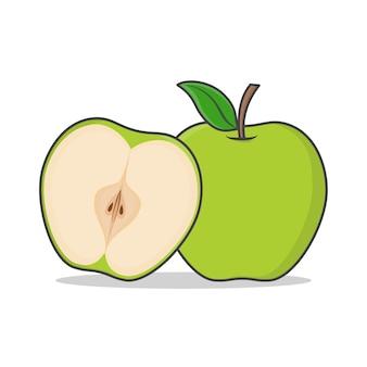 Zielone jabłko ikona ilustracja