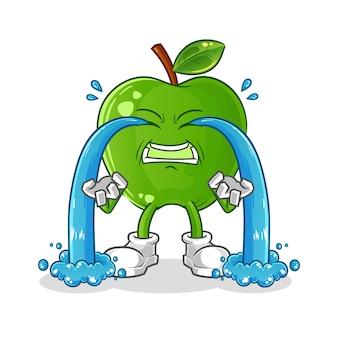 Zielone jabłko płacze ilustracja