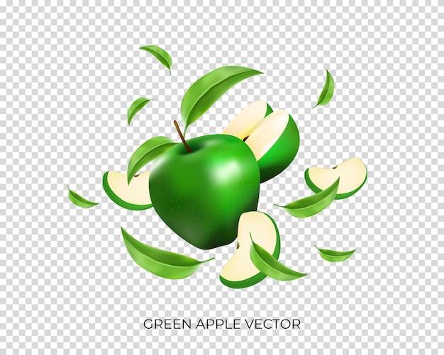 Zielone jabłko z plastrami i latającymi liśćmi