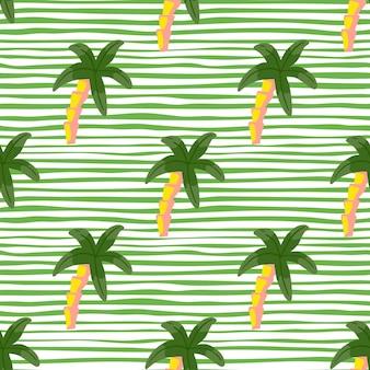 Zielone kolorowe palmy elementy bezszwowe doodle wzór. białe i zielone paski tle. przeznaczony do projektowania tkanin, nadruków na tekstyliach, zawijania, okładek. ilustracja wektorowa.