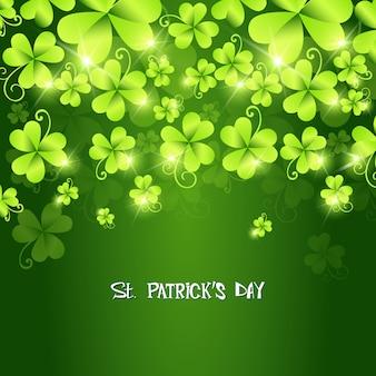 Zielone koniczynki spada st patrick's day tło
