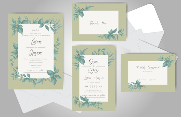 Zielone kwiatowe ramki ślubne stacjonarne
