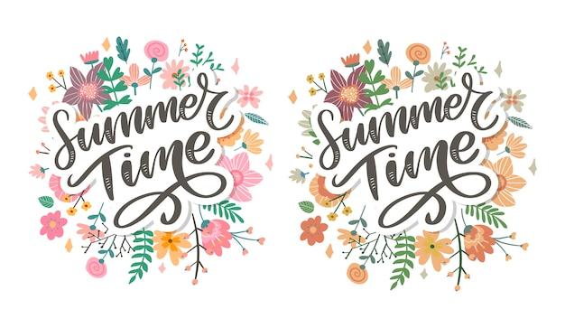 Zielone lato czas list kwiaty w nowoczesnym stylu na kolorowe tło. powitanie zaproszenie ilustracji wektorowych. dekoracja bukietem kwiatowym. element dekoracyjny.