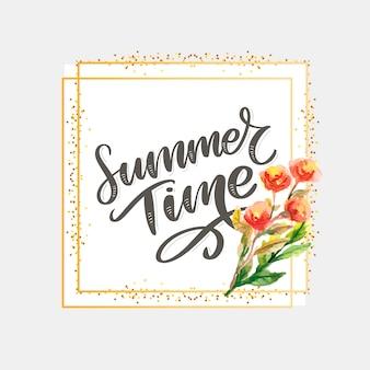 Zielone lato czas list kwiaty w nowoczesnym stylu na kolorowe tło. zaproszenie na powitanie ilustracja. dekoracja bukietem kwiatowym. element dekoracyjny.