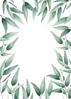 Zielone liście akwarela ramki wysokiej jakości ręcznie rysowane wektor wzór