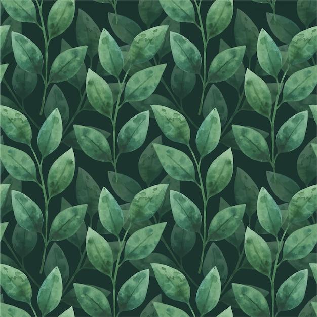 Zielone liście. akwarela wzór z kwiatowymi elementami.