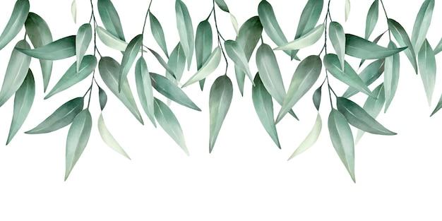 Zielone liście bezszwowe obramowanie wysokiej jakości ręcznie rysowane wektor wzór