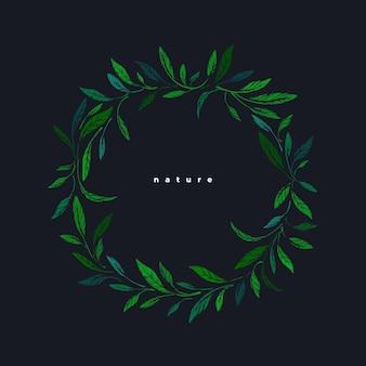 Zielone liście grawerowane. okrągła ramka. szkic botaniczny buchu herbacianego, liście oliwne