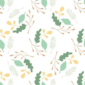 Zielone liście i gałęzie wektor wzór na białym tle. płaski styl tła na okładki tekstylne lub książki, tapety, projekty, grafiki, opakowania