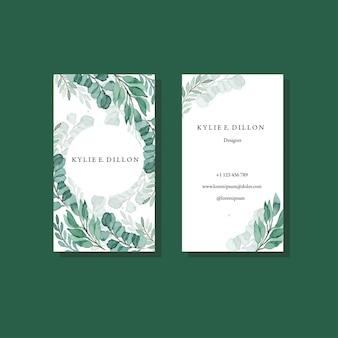 Zielone liście rama szablon vintage akwarela wizytówki szablon