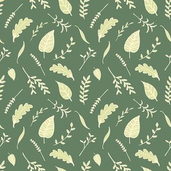 Zielone liście ręcznie rysowane styl wektor wzór.