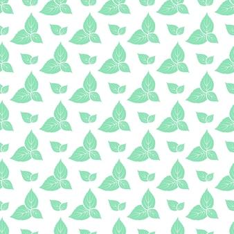 Zielone liście wzór świeżej mięty.