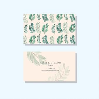 Zielone liście wzór vintage akwarela wektor szablon wizytówki