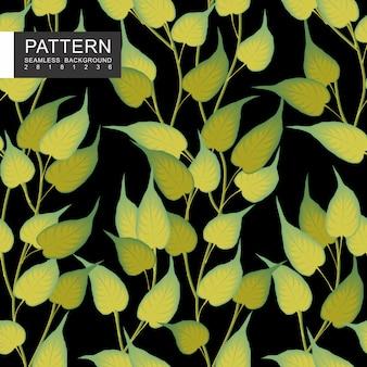 Zielone liście z gałęzi bez szwu kwiatowy wzór