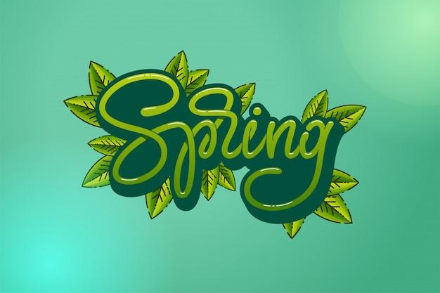 Zielone litery wiosna z liśćmi na turkusowym tle. typografia ręcznie naszkicowany logotyp, ikona typografii odznaka. napis sezon wiosenny na kartkę z życzeniami, szablon zaproszenia. ilustracja.