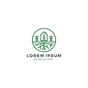 Zielone logo korzenia drzewa w ogrodzie domowym