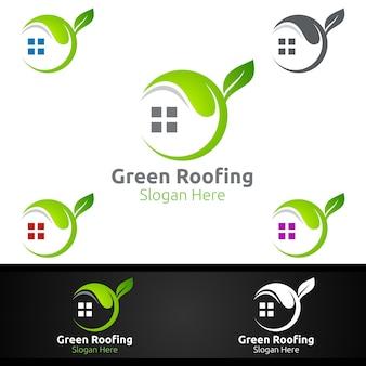 Zielone logo pokrycia dachowego dla nieruchomości na dachu nieruchomości lub projektu architektury złota rączka