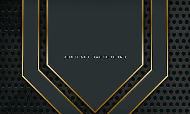 Zielone luksusowe abstrakcyjne tło łączy się ze złotymi elementami linii i wzorem okręgu