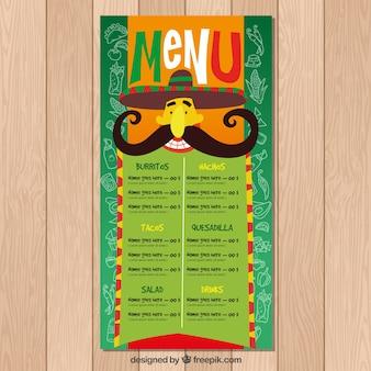 Zielone menu meksykańskie jedzenie