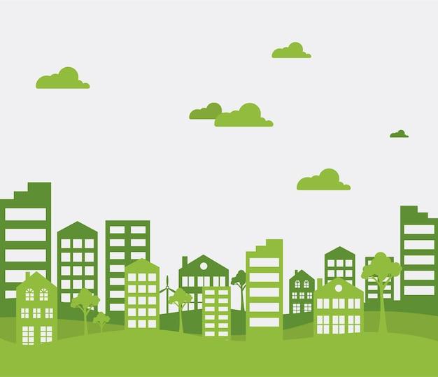 Zielone miasto. ekologia tło dla t-shirt, plakat, baner, ulotka. ilustracja wektorowa.