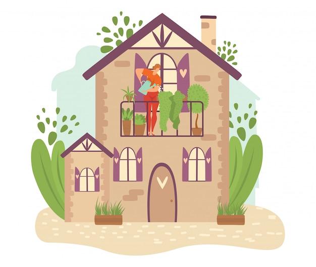 Zielone miasto, ekologii infrastruktury budynki miejskie z roślinami zieleni, drzew, przyrody i ludzi ilustracji.