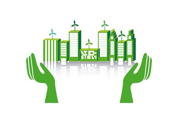 Zielone miasto na białym tle ilustracji wektorowych