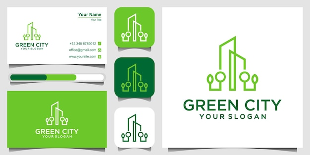 Zielone miasto szablon projektu logo nieruchomości