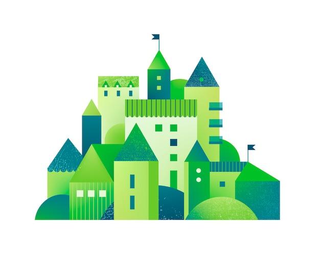 Zielone miasto z budynkami, wieżami i drzewami. płaski ilustracja z teksturami. eko miasteczko, geometryczne, bajkowe