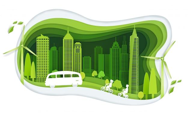 Zielone miasto z ideą budynku i ekologii