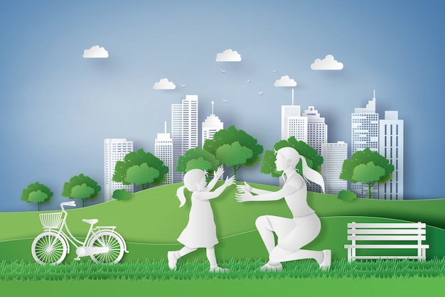 Zielone miasto z mamą i dziewczyną. papierowe cięcie i cyfrowy styl rzemieślniczy.