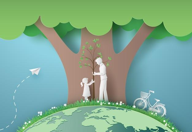 Zielone miasto z mamą i dziewczyną. wycinane z papieru i cyfrowy styl rzemiosła.