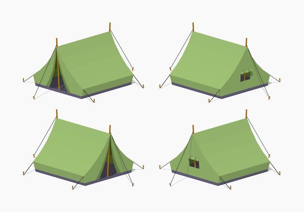 Zielone namioty izometryczne 3d lowpoly
