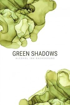 Zielone odcienie tuszu tło, wektor mokrego atramentu