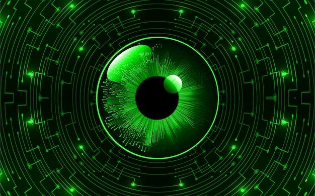 Zielone oko obwód cyber przyszłości koncepcja technologii