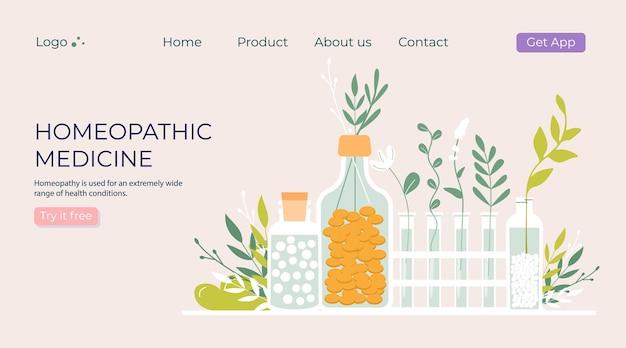Zielone organiczne naturalne tabletki homeopatyczne w szklanych słoikach. leczenie homeopatyczne ziołowa medycyna alternatywna, naturalny olejek eteryczny, apteka ziołowa, suplement diety. płaski wektor