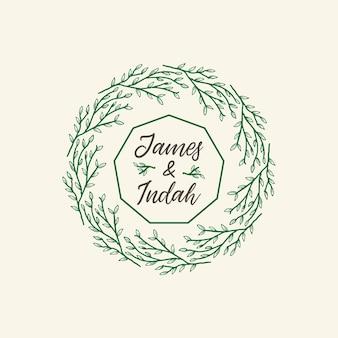 Zielone ozdobne ramki kwiatowe mandala ozdobnych wesele