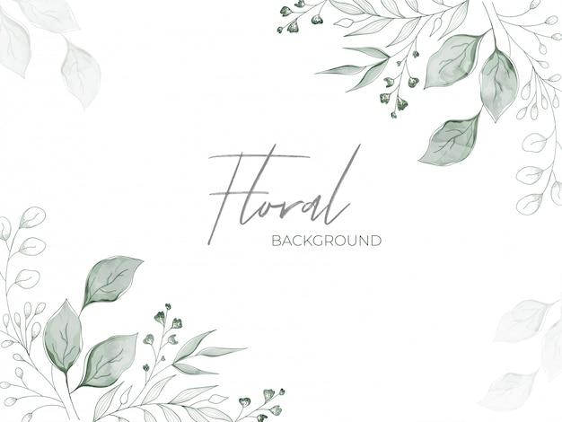 Zielone pąki kwiatowe z efektem akwareli i liście zdobione białymi kwiatowymi kwiatami.