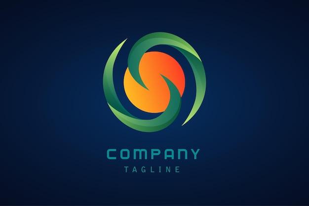 Zielone, pomarańczowe, żółte kółko streszczenie gradientowe logo firmy