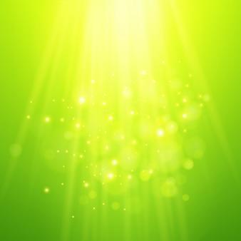 Zielone promienie światła. wektorowy bokeh zamazany tło