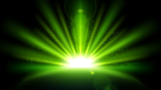Zielone promienie z flara obiektywu na białym na czarnym tle